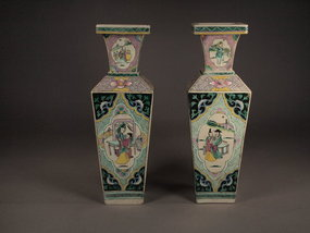 Chinese porcelain enameled vases (pair)