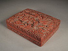 Chinese carved cinnabar lacquer box