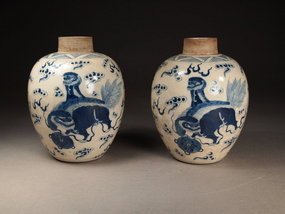 Chinese blue / white porcelain jars (pair)
