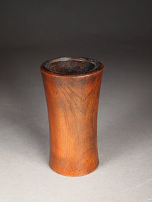 Chinese turned wood brush pot