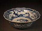 Japanese Imari porcelain blue / white bowl
