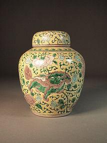 Chinese famille jaune enameled porcelain jar