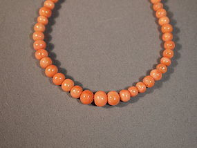 Chinese natural pink coral necklace