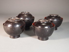 Japanese mingei lacquer lidded bowls (4)
