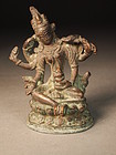 Small Indian cast bronze Durga figure