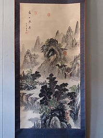 Chinese landscape painting scroll