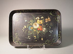 English black lacquered papier mache tray