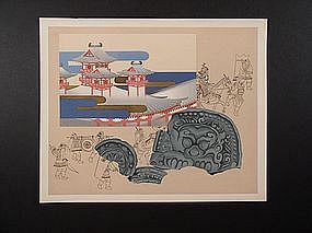 Original woodblock print, artist unknown