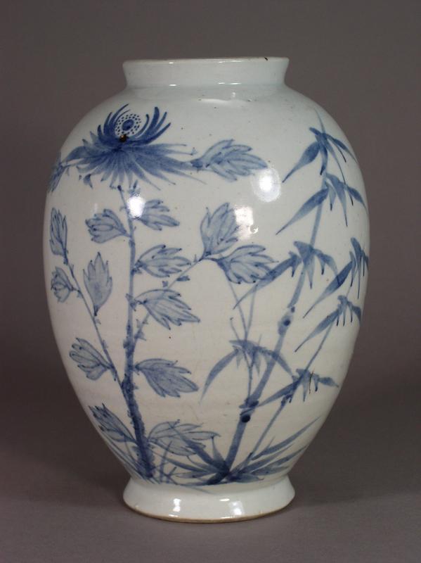 Korean Blue And White Porcelain Vase With Floral Design Item 612168