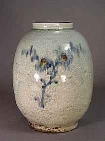Korean blue and white vase with underglaze red