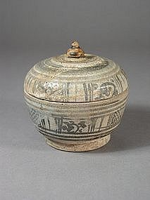 Thai stoneware box with cover