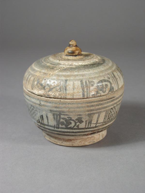 Thai stoneware box with cover