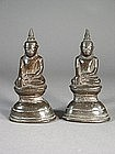 Pair of small Thai bronze Buddha sculptures