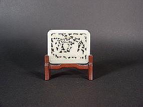 Chinese pale celadon jade plaque / pendant