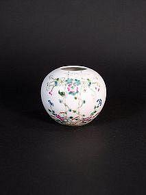 Chinese enameled semi-eggshell porcelain brushwasher