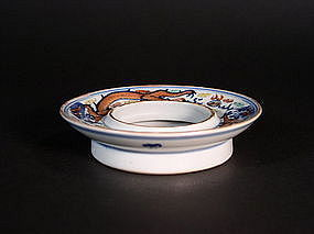 Chinese porcelain doucai enameled tea bowl stand