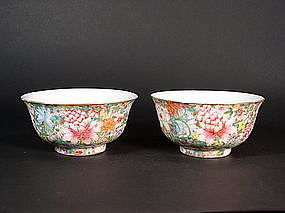 Chinese mille-fleurs enameled porcelain bowls (pair)