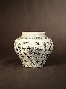 Chinese early blue / white porcelain guan-form jar