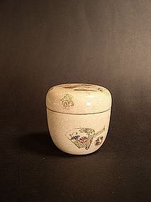 Japanese enamel earthenware natsume tea caddy