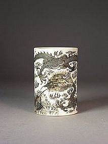 Chinese enameled biscuit porcelain brushpot