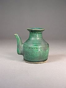 Chinese green glazed stoneware ewer