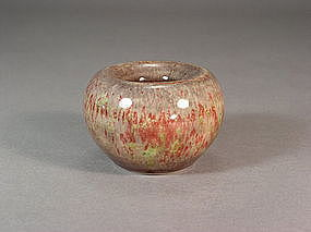 Chinese porcelain peach bloom apple-form water pot