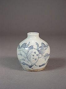 Chinese blue / white porcelain bottle vase