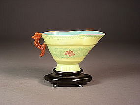 Chinese enameled porcelain pouring vessel