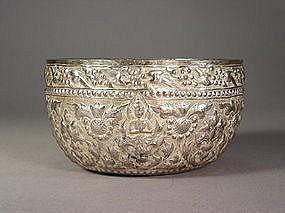 Burmese silver repousse alms bowl