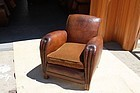 Vintage French Leather Club Chair 16ème Lounge Single