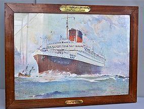 Vintage French Travel Print Transatlantique Lafayette