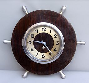 Vintage French Bayard 8 Day Clock - Ship's Wheel