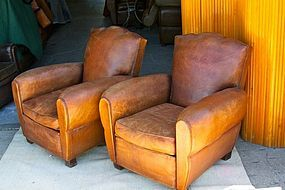Vintage French Leather Club Chairs Double Moustache