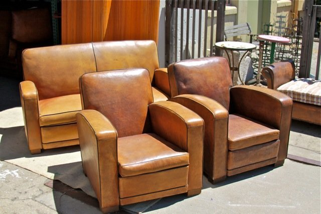 French Leather Club Chairs and Couch - Spar Nation Set