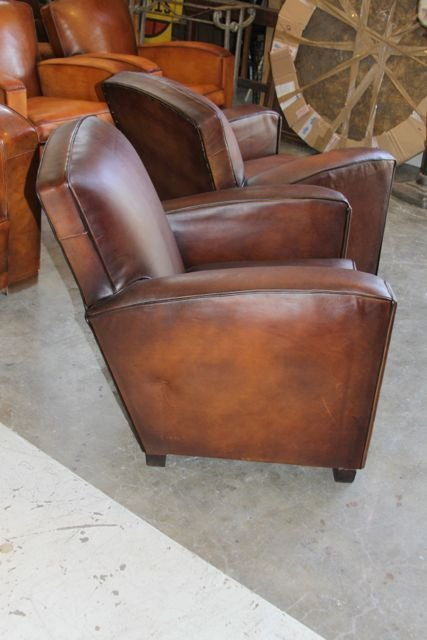 French Leather Club Chairs - Dark Chocolate Flare Pair