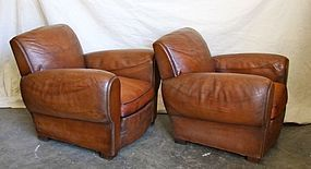 French Leather Club Chairs Honfleur Rollback Pair