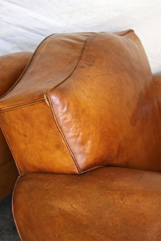 Vintage French Club Chairs Gendarme Geneva Pair