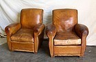 Vintage French Club Chairs Vierzon Slopeback Pair