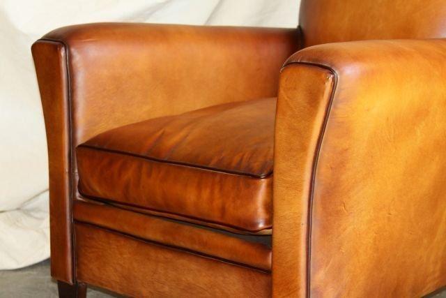 Fountainbleu Flair French Leather Club Chair pair