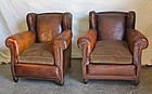 Vintage French Leather Club Chairs Wagram Wingback Pair