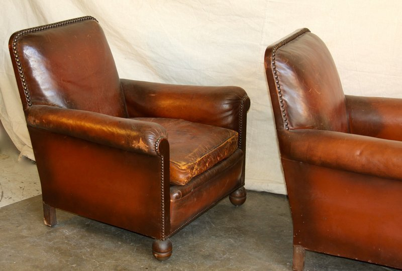 Vintage French Leather Club Chairs Heron Nailed Pair
