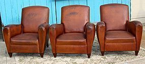 Vintage French Club Chairs Chartres Library Trio