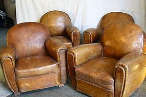 Vintage French Club Chairs Fontenac Four Orig Leather