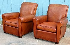 French Pair Leather Club Chairs Caramel Slopeback