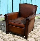 Clichy Dark Petite Mustache French Leather Club Chair