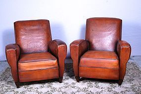 Nantes Dark Library French Leather Club Chairs - SOLD!