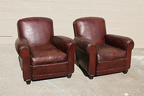 St Emilion library French leather Club Chairs