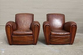 Belvedere Rollback French Leather Club chairs