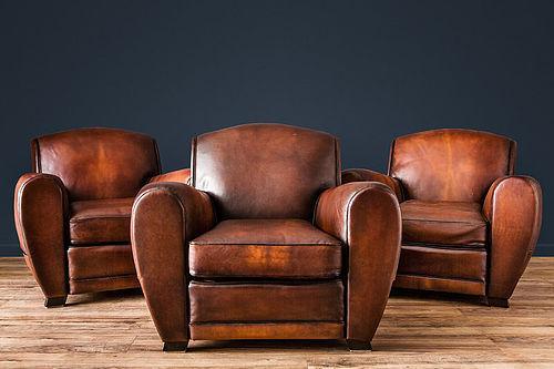 Streamline Dark Chocolate French leather Club Chairs