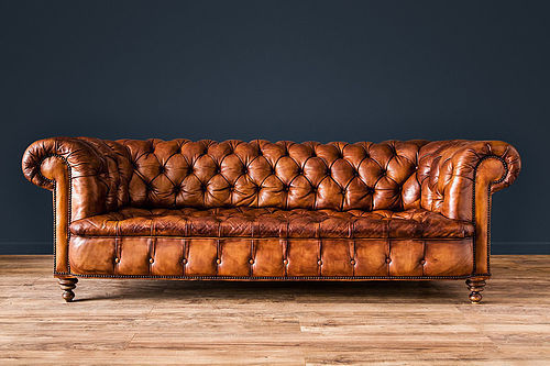 French Chesterfield Salon leather Club chairs